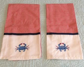 2 Embroidered Crab Tea Towel Napkins Kitchen Bath