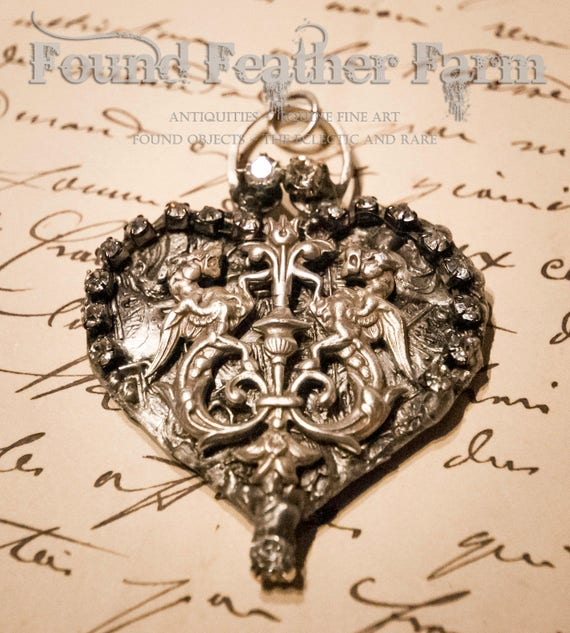 Handmade Embossed Heart Pendant with Vintage Jewels and Silver English Griffins