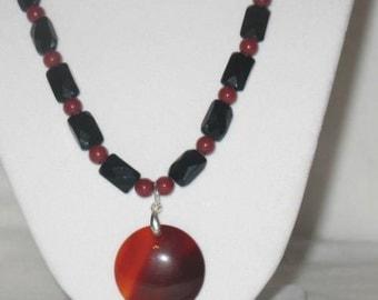 Agate Necklace, Black Necklace, Gemstone Necklace, Red Necklace, Beaded Necklace, Black and Red Necklace, Gemstone Jewelry, Stocking Stuffer