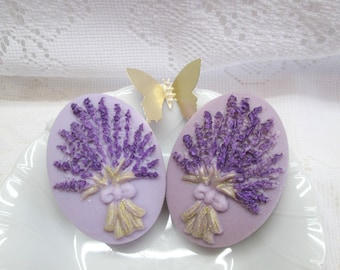 TWO bars of Lavender soap-  Baby Buttermilk soap with raised lavender flowers design, fancy soap, fragrant sculpted bath and body gift item