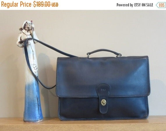 Football Days Sale Coach Shoulder Portfolio In Black Leather Style No. 5160- Very Good Condition- Made In New York City