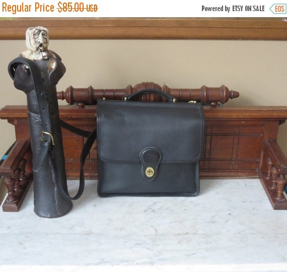 Football Days Sale Coach Black Leather Willis Crossbody Unisex Bag No. 9927 - Very Good Condition