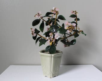 Glass Bonsai Tree With Cherry Blossoms in Weighted Celadon Pot