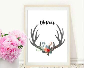 Oh Deer Print, Antler Art, Printable Wall Art, Deer Art,  digital Download,  Modern Wall Art, Home And Living