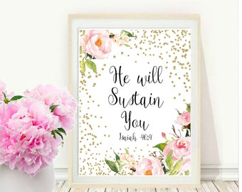 Bible Quote, He Will Sustain You, Printable Art, Bible Verse Wall Art, Scripture Print, Christian art, Instant download, Wall Decor