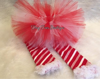 Handmade baby girl candycane  tutu with leg warmers 9 - 24 months photo prop