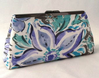 Turquoise Purse ~ Floral Clutch Handbag ~ Tropical Purple and Turquoise Purse ~ Ready to Ship