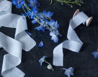 Hand dyed silk ribbons, light blue, 1 m/1,09 yard