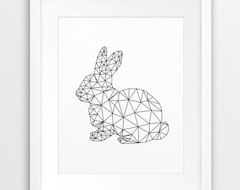 Rabbit Print, Geometric Animal Wall Art, Woodland Nursery Decor, Rabbit, Bunny Rabbit, Modern Art, Woodland Animals, Nursery Printable Art
