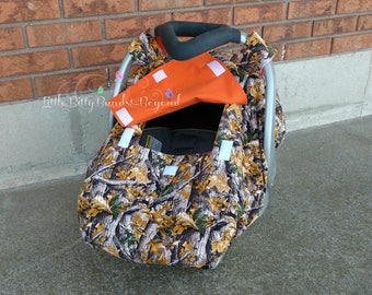 Spring/Summer/Fall,  Fitted car seat canopy, Realtree camo, Car seat cover