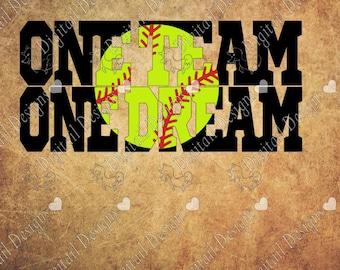 One Team One Dream Softball SVG PNG DXF Eps fcm ai Cut file for Silhouette or Cricut. Printable art T-shirt template Softball svg