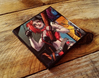 Harley Quinn, comic book, ceramic, tile, drink coaster, by, DC comics, drinkware, barware