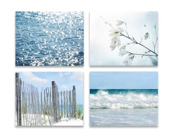 Rustic Coastal Wall Art Set Of FOUR Prints Or Canvases Blue