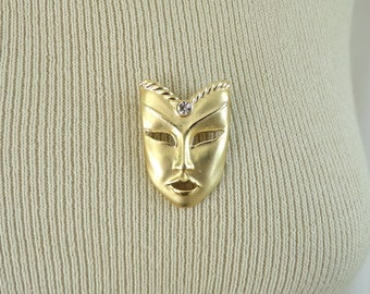 70s drama mask pin, gold metal dramatic mask face brooch, 1970s vintage pin, vintage brooch, costume jewelry, jewellery