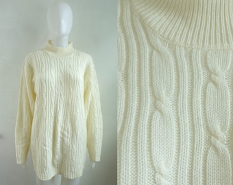 cable knit sweater size medium, 80s off white cream knit acrylic sweater, minimalist 1980s womens mock neck sweater jumper