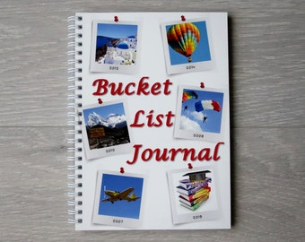 Bucket List Journal, A5 Wire Bound, Custom Designed Pages for Each Bucket List Item, Gift for Retirement, Goals Diary, Birthday Gifts