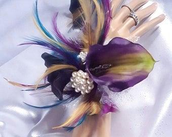 Dark Purple Feathered Jeweled Wrist Corsage and Boutineer