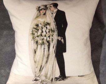 Wedding Day, Bride and Groom cushion/pillow size 16'' X 16''