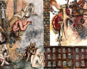 MAN and MACHINE A4 mounted contemporary art print by Clare Thompson steampunk, industrial, biology, human anatomy