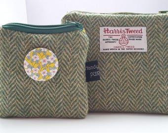 Harris Tweed Green Herringbone Coin Purse, Liberty Ffion Print Fabric, Tana Lawn, Gifts for Female Teachers, Gifts for Mom, Spring, Flowers