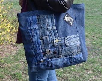 Denim Bag, Denim Tote, Denim Purse, Upcycled Denim Bag, Big Shoulder Bag, Recycled Shopping Bag, Boho bag