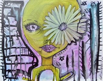 16x20 Alien Flower Girl