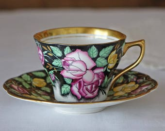 Vintage Rosina Teacup Set - England - Scalloped Edge - Rosina English Bone China Teacup and Saucer - English China