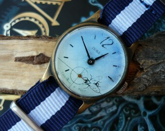 """USSR Vintage Pobeda """"Victory"""" Soviet Russian Men's Watch with new strap Vintage men's watch  – shiny face watch – soviet mechanical  #081216"""