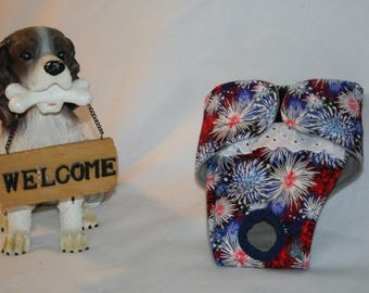 Female Dog Diaper, Panties, dog Britches, Nappies.  Washable Heat Cycle, Incontinence - Fireworks -  by angelpuppi