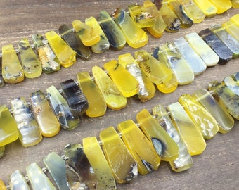 Yellow Agate Slice Beads Trapezoid Agate Slab Nugget Beads Top Drilled Agate Gemstone Beads Graduated Beads Supplies 14-20*25-46mm