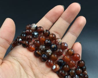 """Faceted Round Agate Beads Polished Red Dragon Veins Agate Beads Round Gemstone Beads Supplies 6/8/10mm Jewelry making 15.5"""" strand"""