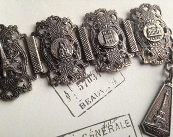 Vintage Paris Souvenir Bracelet Antique French Panel Bracelet French Filigree Links Scenes of Paris Eiffel Tower Vintage Silvertone Bracelet