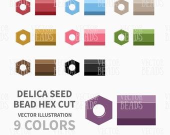 Miyuki Delica Seed Bead Hex Cut Vector Clipart Set - ai, eps pdf, png