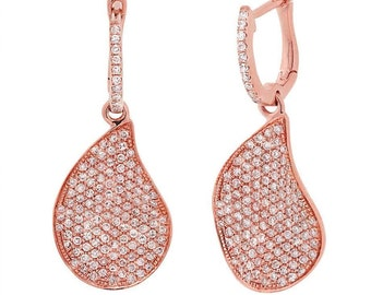 Unique 14K Rose Gold Diamond Pave Tear Water Drop Wavy Dangle Leverback Earring