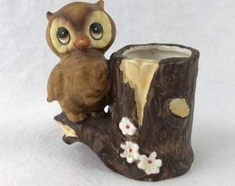 Owl Toothpick Holder-Painted Ceramic Owl Figure-Mid Century-Made In Japan