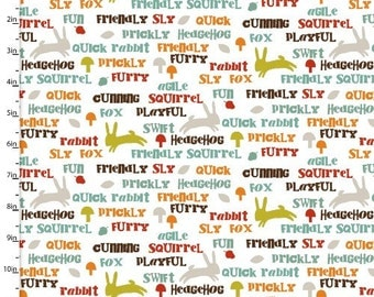 Forest Friends, White background, Forest animals, Word fabric, Animal fabric with words, by 3 Wishes, 11670
