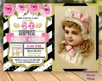 60th Birthday Invitation / Photo / Photograph / Any Age / Black Pink White Gold Surprise Digital Printable Invitation Flowers Invite BDV2