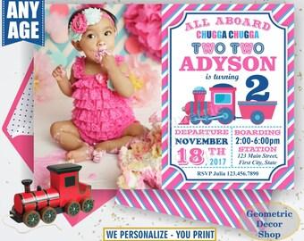 Train Birthday Invitation Train Invite teal pink Train Invitations Girl Train Party Chugga Choo Photo Photograph Two Second Birthday BDT13