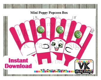 Shopkins Poppy Popcorn. Popccorn box. INSTANT DOWNLOAD