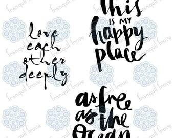 Set of 3 - SVG & DXF design - As Free as the Ocean, Love Each Other Deeply, This is my Happy Place t-shirt cut files (Cricut / Silhouette)