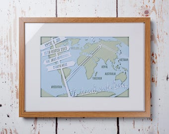 To Travel Is To Live - Framed personalised wedding paper cut art (Medium 42x32 cm)