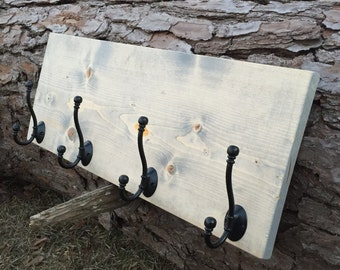 Wooden Shelf with coat hangers-wooden wall art- wooden coat rack-wooden shelf