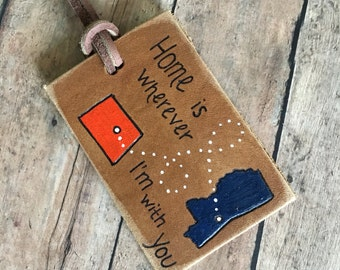 luggage tags, custom luggage tag, airplane luggage tag, state luggage tag, Custom Leather Luggage Tag