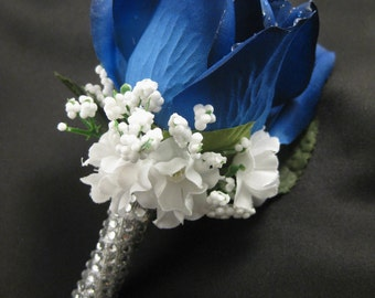 Navy Blue Wedding Groom Silk Flower Rose Boutonniere Crystal Rhinestone Stem