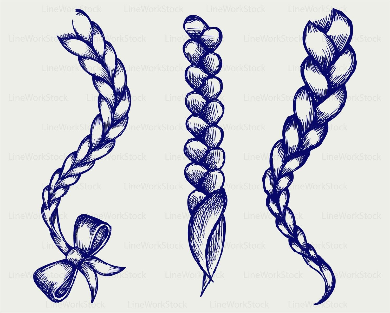 Hair braided svg braid clipart braid svg hair braided silhouette braid cricut plait cut files - Comment dessiner une tresse ...