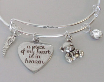 A Piece Of My Heart  Bangle Bracelet W/  BIRTHSTONE- Silver Wing  - Teddy Bear/  CHILD /  Infant - Lost Of A Love One - Gift For Her Usa P1