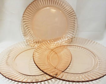 Three Pink Glass 10 inch Dinner Plates by Forte Crisa Made in Mexico