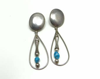 Silver Turquoise Earrings, Vintage Turquoise Earrings, Dangle Turquoise Earrings