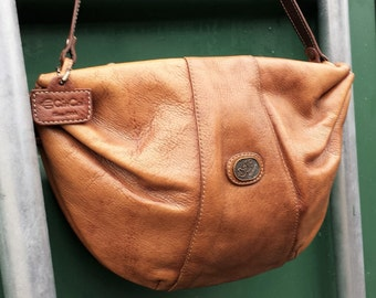 Brown leather satchel, Brown leather Shoulder Purse, Toffee Caramel messenger bag,  shape leather purse,  CinCal since 1944 Leather Purse