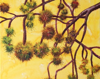 Acrylic Painting on cannvas, yellow, original, 18 x 24 in